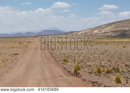 Sandy Road Track, Grass And Arid Landscape Against A Clear Blue Sky In Eduardo Avaroa Andean Fauna N