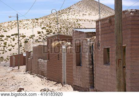 Adobe Houses In Cerrillos Village On Bolivian Altiplano Near Eduardo Avaroa Andean Fauna National Re