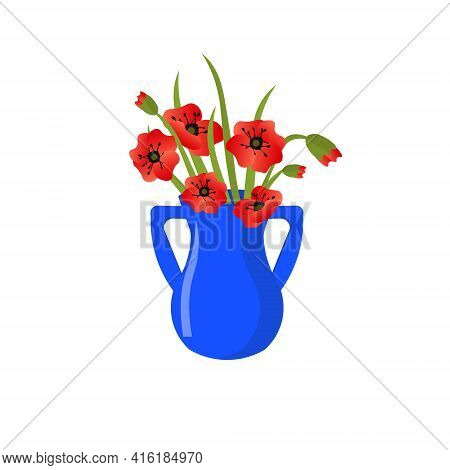 Blue Ceramic Vase With A Bouquet Of Poppies. Vector Illustration Isolated On White Background. Moder