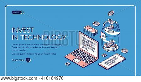 Invest In Technology Isometric Landing Page, Gadgets With Binary Code On Screen, Dollar Coins Fall T