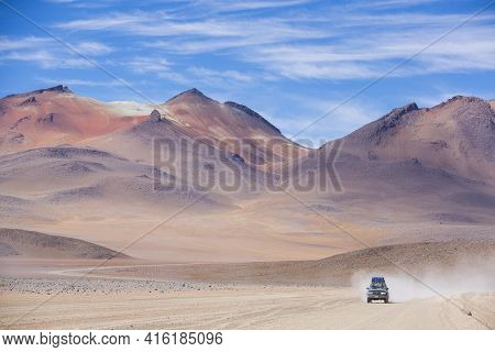 Atacama Desert, Bolivia, December 31: Off-road Vehicle Driving In The Atacama Desert, Bolivia With M