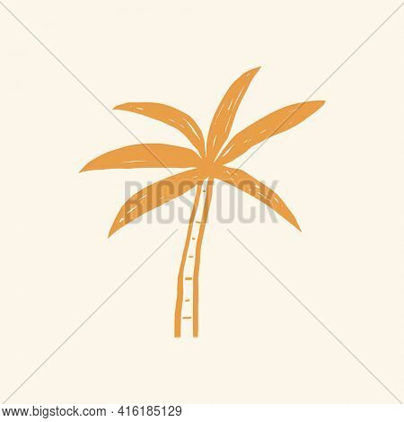 Palm tree graphic summer doodle graphic in orange