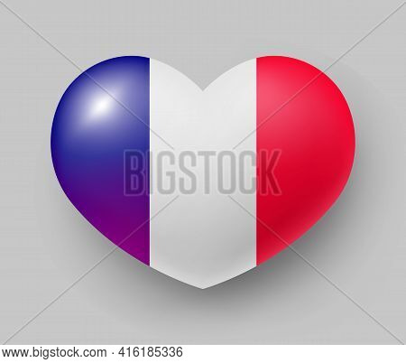 Heart Shaped Glossy National Flag Of France. European Country National Flag Button, French Symbol In