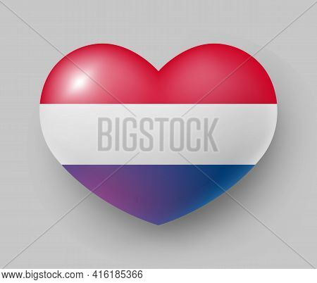 Heart Shaped Glossy National Flag Of Netherlands. European Country National Flag Button, Symbol Of N