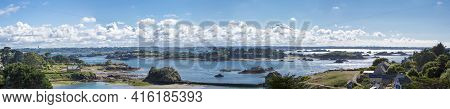 Panoramic View Of Brehat Island In Brittany With Clouds And Blue Sky, Cotes D'armor In France