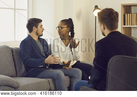 Couple Experiencing Relationship Problem Blaming Each Other During Therapy Session