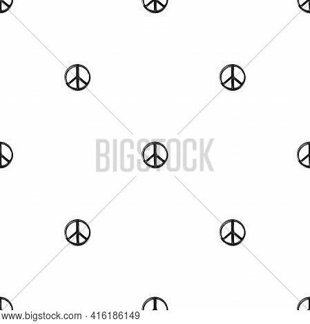Seamless Ornament With Paint Brush Peace Sign. Pacifist, Happy, Peace Pattern. Black Hippie Graffiti
