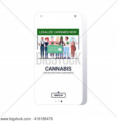 Mix Race People Holding Legalize Cannabis Now Protest Poster Medical Marijuana Legalization Drugs Co