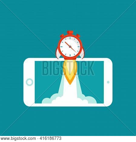 Smartphone With Red Stopwatch Rocket Ship On The Screen. Fast Time Stop Watch, Limited Offer, Deadli