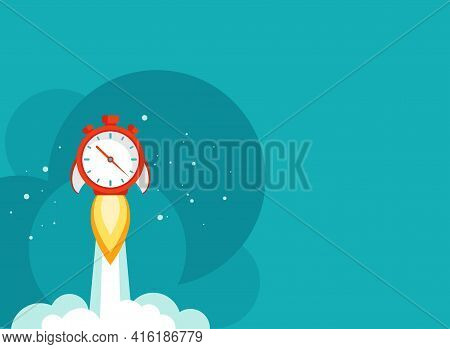 Horizontal Background With Red Stopwatch Rocket Ship With Fire, Clouds And Stars. Fast Time Stop Wat