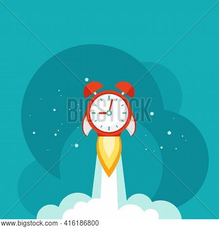 Horizontal Background With Red Alarm Clock Rocket Ship With Cosmos Stars And Clouds. Time, Watch, Li
