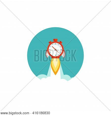 Red Stopwatch Rocket Ship With Fire And Clouds In Blue Circle. Fast Time Stop Watch, Limited Offer,
