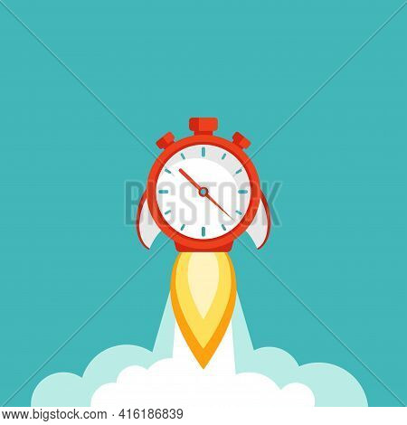Red Stopwatch Rocket Ship With Fire And Clouds. Fast Time Stop Watch, Limited Offer, Deadline Symbol