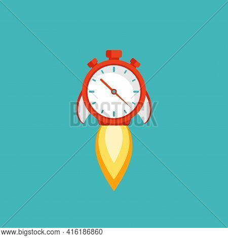 Red Stopwatch Rocket Ship With Fire. Fast Time Stop Watch, Limited Offer, Deadline Symbol. Vector Il
