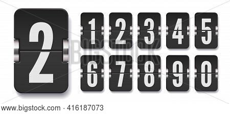 Set Of Flip Score Board Numbers With Shadows For Countdown Timer Or Calendar. Vector Template For Yo