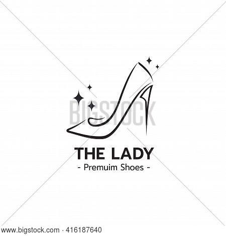 Stylized Image Of High Heel Shoe Logo Icon Emblem Template , Elegant Ladies Shoe Line Art Logo Desig