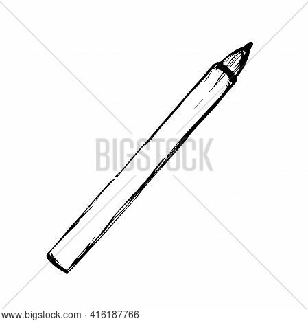 Pencil-eyeliner. Isolated Black Beautiful Female Eyebrows. Makeup Blank Template Illustration