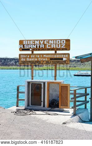 SANTA CRUZ ISLAND, GALAPAGOS - FEBRUARY 20, 2017: Ferry Dock. The Baltra Ferry Dock transports tourists across the Itabaca Channel to the island.