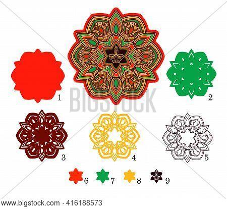 3d Mandala Diwali Candle. Layered Elements For Paper Cutting Or Machine Cutting.
