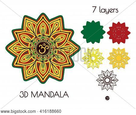 3d Festive Mandala Of Seven Layers. Multilayer Elements For Paper Cutting Or Machine Cutting.