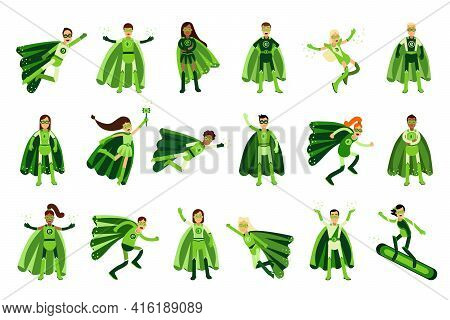 Young Man And Woman In Green Eco Superhero Costumes Standing And Rushing To The Rescue Vector Illust