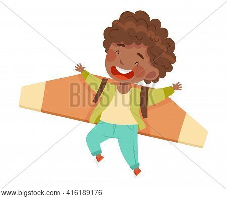 Cheerful African American Boy With Improvised Fake Wings Flying And Playing Vector Illustration
