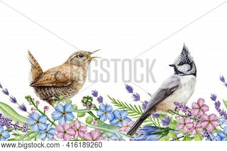 Spring Flower Seamless Border. Watercolor Illustration. Natural Realistic Spring Flowers And Small B