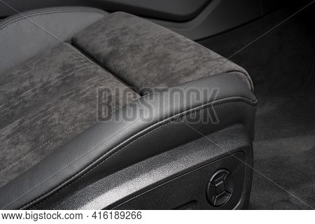 Modern Luxury Car Black Leather And Alcantara Interior. Part Of Black Perforated Leather Car Seat De