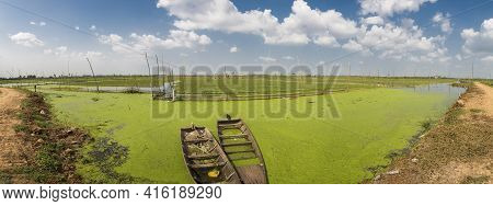 Two Small And Old Wooden Boats Floating On Green Water With Rice Fields In The Background. Rural Sce