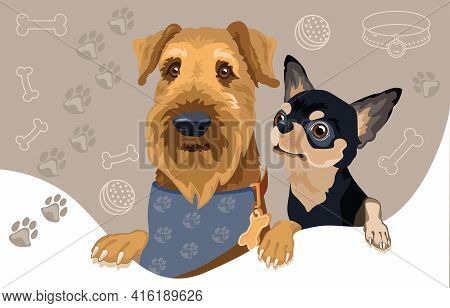 Dog Breed Airedale And Chihuahua. Pet Head. Vector Flat Illustration.