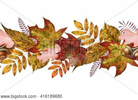 Yellow Autumn Leaf Seamless Border. Watercolor Illustration. Red, Orange Fallen Leaves Endless Ornam