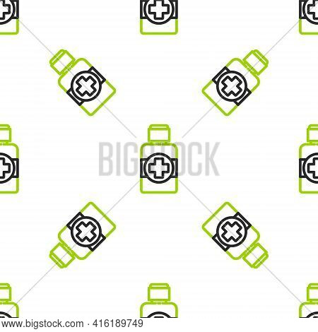 Line Bottle Of Medicine Syrup Icon Isolated Seamless Pattern On White Background. Colorful Outline C