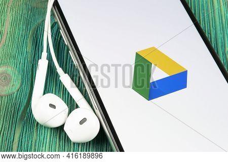 Helsinki, Finland, May 4, 2019: Google Drive Application Icon On Apple Iphone X Screen Close-up. Goo