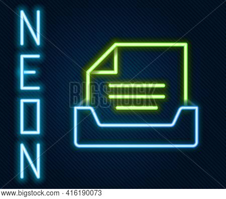 Glowing Neon Line Drawer With Document Icon Isolated On Black Background. Archive Papers Drawer. Fil