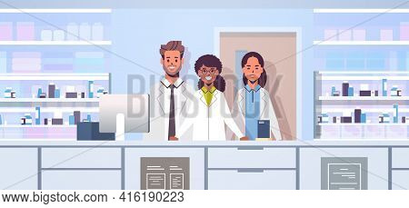 Mix Race Doctors Pharmacists Team Standing At Pharmacy Counter Modern Drugstore Interior Medicine He