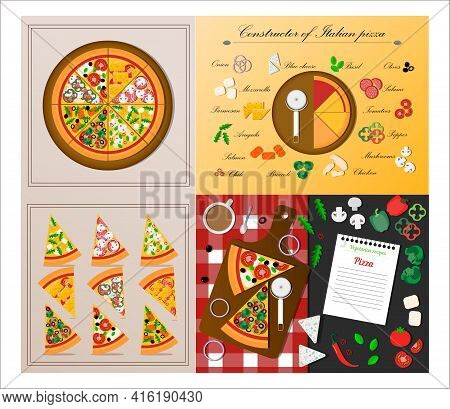 A Set Of Flat Slices Of Pizza. Vector Illustration Of Assorted Pizza. Cut Pieces Of An Italian Dish