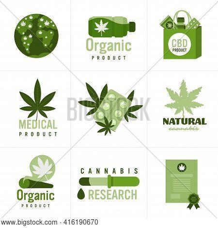 Set Medical Cannabis Or Marijuana Natural Product Ganja Legalization Hemp Leaf Drug Consumption Conc