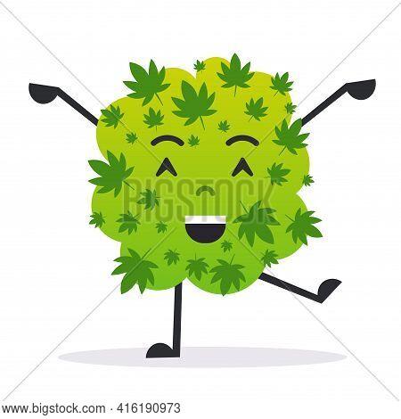 Cute Smiling Cannabis Weed Bud Cartoon Character Medical Marijuana Drug Consumption Concept Flat