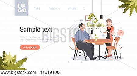 Waitres Taking Order From Man Customer With Cannabis Coffee Modern Cafe Shop Marijuana Legalization