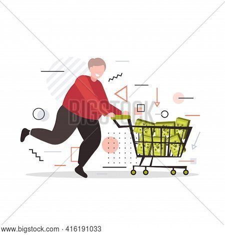 Smiling Man Pushing Trolley Cart With Medical Cannabis Products In Boxes Marijuana Legalization Drug