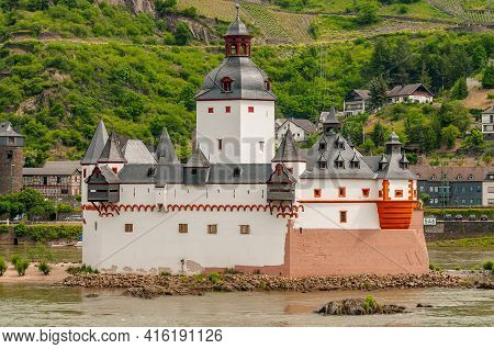 Close-up View Of The Famous Pfalzgrafenstein Castle, A Toll Castle Located In Kaub, Germany. As Famo