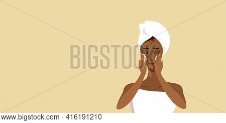 Young Woman Applying Face Cream African American Girl Wrapped In Towel Skincare Spa Facial Treatment