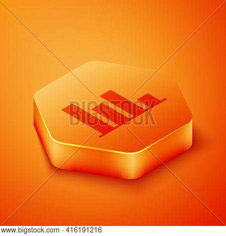 Isometric Pie Chart Infographic Icon Isolated On Orange Background. Diagram Chart Sign. Orange Hexag