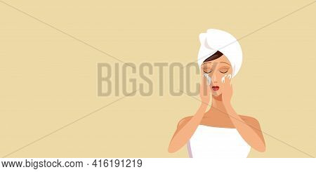 Young Woman Applying Face Cream Girl Wrapped In Towel Skincare Spa Facial Treatment Concept Portrait
