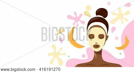 Young Woman Applying Fresh Fruits Face Mask Girl Having Facial Treatment With Banana Fruit Portrait