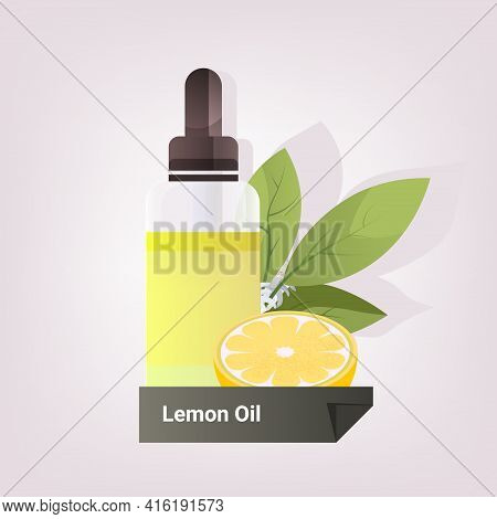 Dropping Essential Lemon Oil Glass Bottle With Yellow Liquid Citron Fruit And Leaves Natural Face Bo