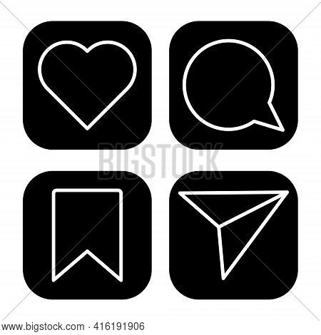 Like, Comment, Share And Save Icons. Web Flat Icons. Vector