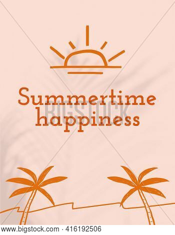 Summertime happiness quote aesthetic doodle  flyer