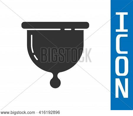 Grey Menstrual Cup Icon Isolated On White Background. Feminine Hygiene. Protection For Woman In Crit