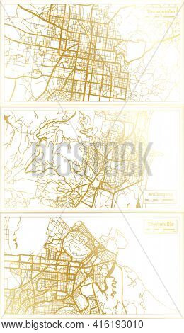 Wollongong, Townsville and Toowoomba Australia City Map Set in Retro Style in Golden Color. Outline Map.